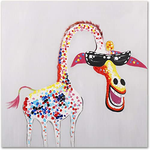 Art Hub 100 Hand Painted Oil Painting Modern Pop Art D cor Colorful Giraffe with Glasses Gallery Wrapped Framed Wall Decoration, 24×24