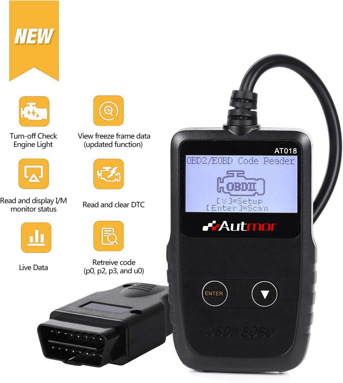 Autmor OBD II Auto Diagnóstico de Coches OBD2, OBD Lector de Código con Pantalla LCD Escáner de Códigos de Vehículos para Lecturar y Borrar de DTC, Herramienta de Diagnostico de Coches Portátil