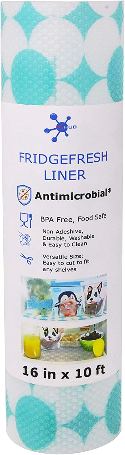 """ACHub Antimicrobial Refrigerator Shelf Liner, BPA Free, Wider Roll (120"""" x 16"""") Fridge Liner, Cut to Fit, Non Adhesive, Washable Refrigerator Liner, Easy to Clean & Durable Kitchen Fridge Mat"""