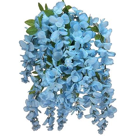Amazon.com: MISC verde azul colgante de flores de arbustos ...