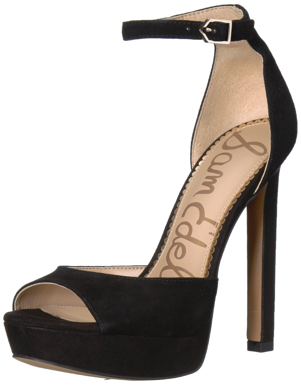 Sam Edelman Women's Wallace Heeled Sandal, Black Suede, 7.5 Medium US