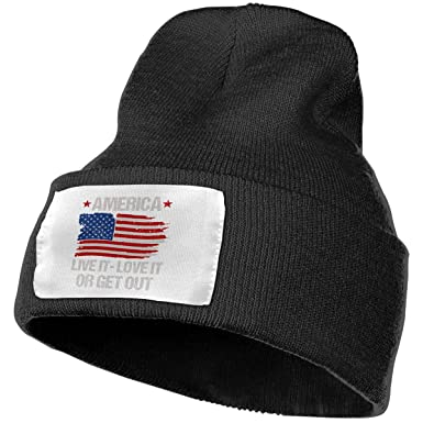 America Live It Love It Or Get Out Solid Color Beanie Hat Skull Cap ... 5e37923c9ae6