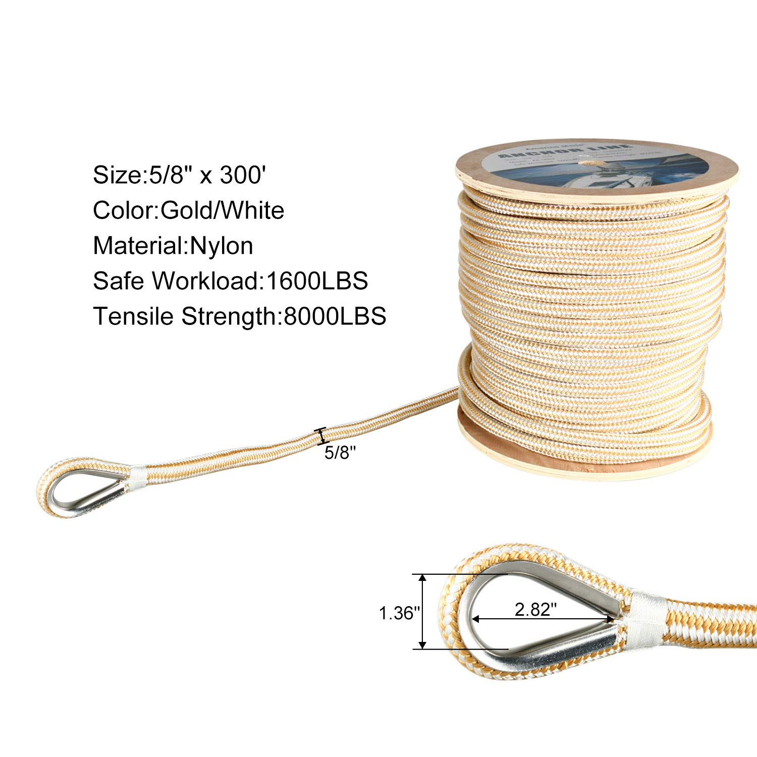 Amarine Made Heavy Duty Double Braid Nylon Anchor Line with Stainless Steel Thimble-White/Gold (5/8'' x 300')