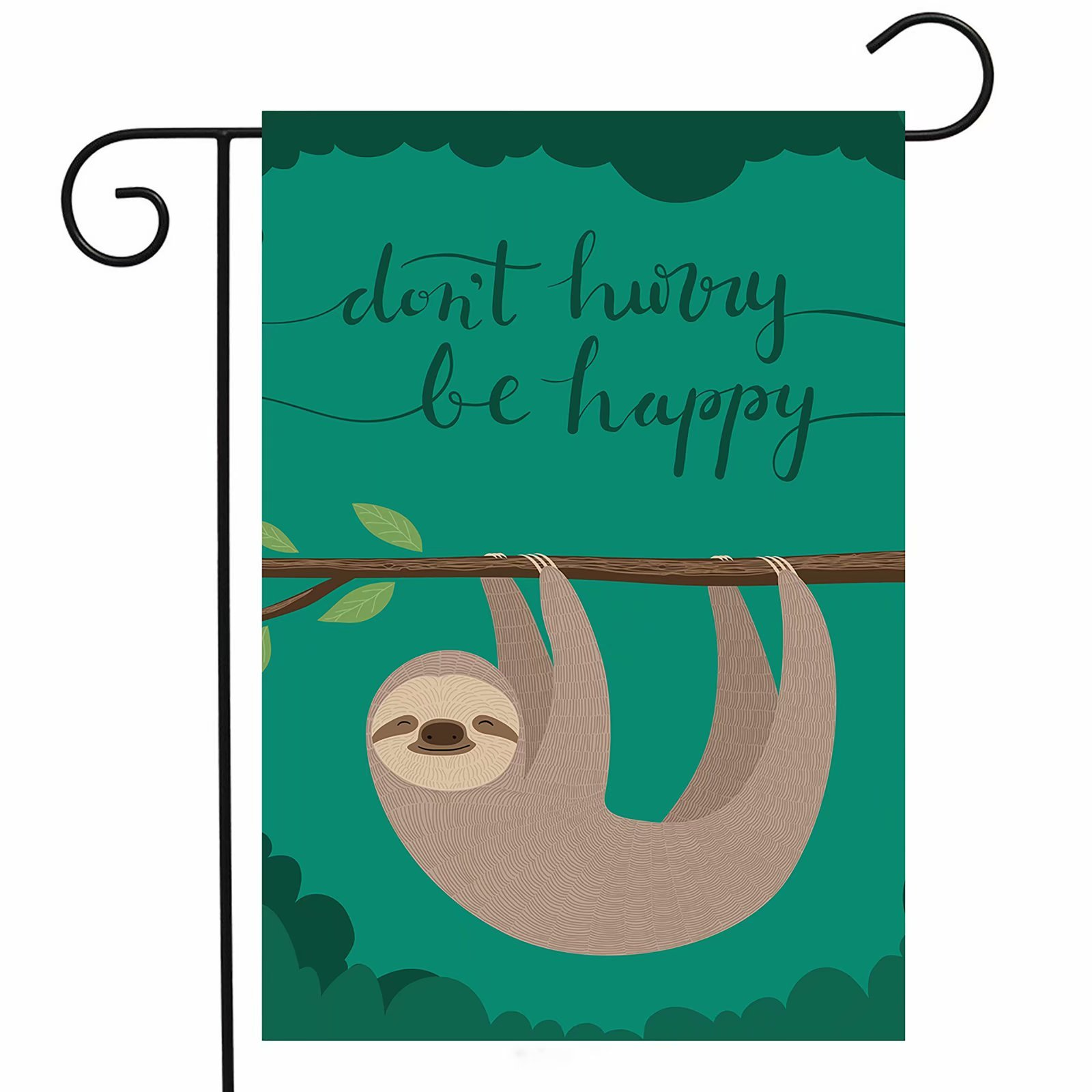 ShineSnow Funny Cute Lovely Animal Sloth Garden Yard Flag 12''x 18'' Double Sided, Wildlife Tree Brunch Don't Hurry Be Happy Polyester Welcome House Flag Banners for Patio Lawn Outdoor Home Decor by ShineSnow (Image #1)