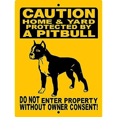 """Dozili Panneau en métal pour Chien Pitbull Pit Bull Dog Sign Decal Guard Dog Sign X Aluminium Pbn, Aluminium, 1 Couleur, 8"""" x 12"""" Cuisine & Maison"""