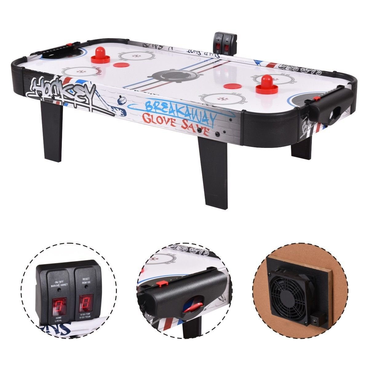 42''Air Powered Hockey Table Game Room Indoor Sport Electronic Scoring 2 Pushers by Powered Hockey Table