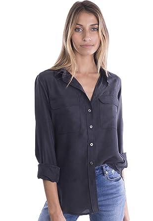09a5ce72f41 CAMIXA Womens 100% Silk Blouses Ladies Shirt Casual Pocket Button up  Elegant Top XS Black