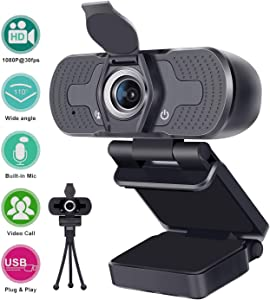 AMTIFO 1080P HD Webcam W1,USB Desktop Laptop Camera,Mini Plug and Play Video Calling Computer Camera,Built-in Mic,Flexible Rotatable Clip