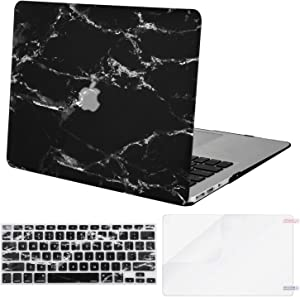 MOSISO MacBook Air 11 inch Case (Models: A1370 & A1465), Plastic Pattern Hard Shell Case & Keyboard Cover & Screen Protector Compatible with MacBook Air 11 inch, Black Marble