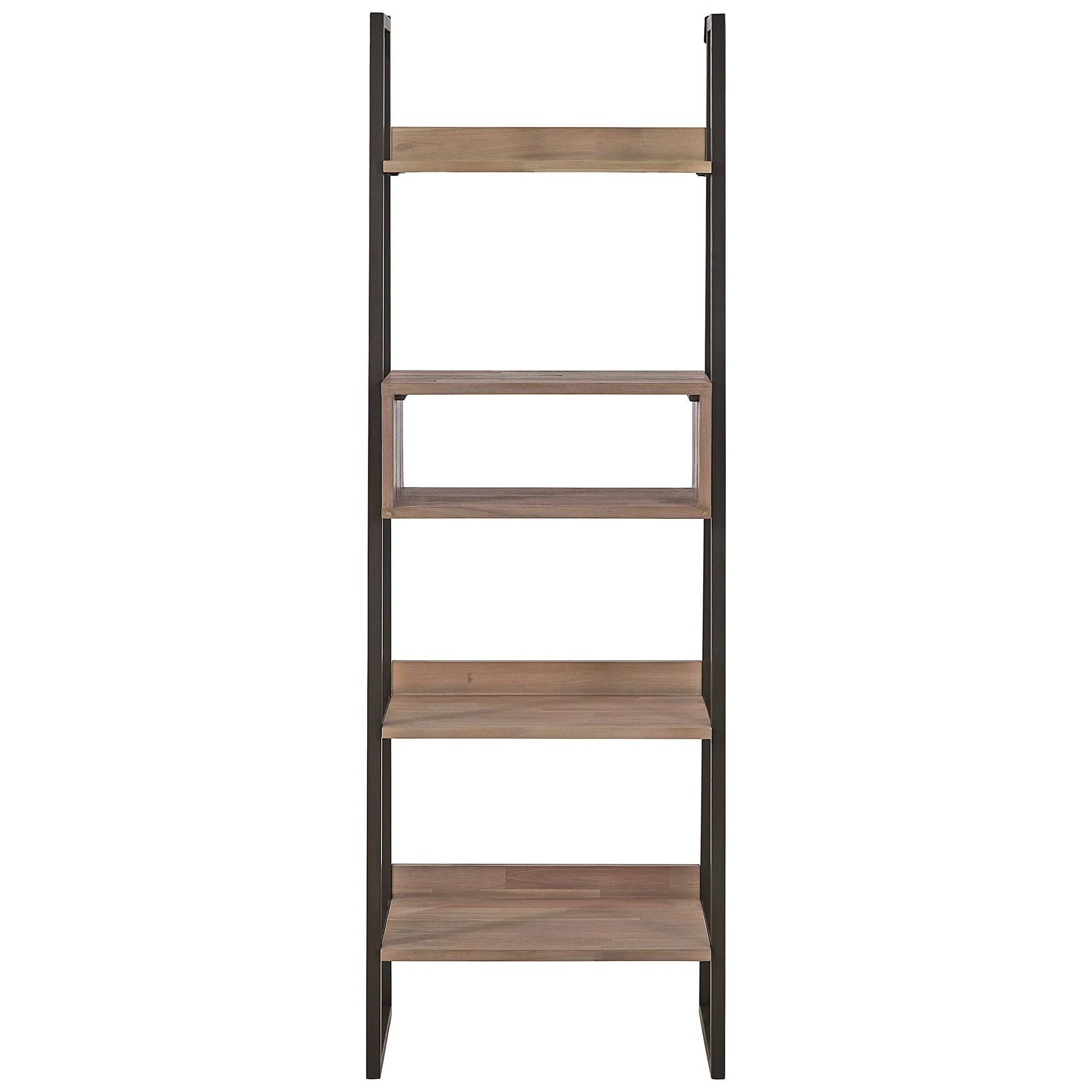 Rivet Roxmere Modern Bookcase, 23.6''W, Acacia, Sandblast Gray by Rivet (Image #3)