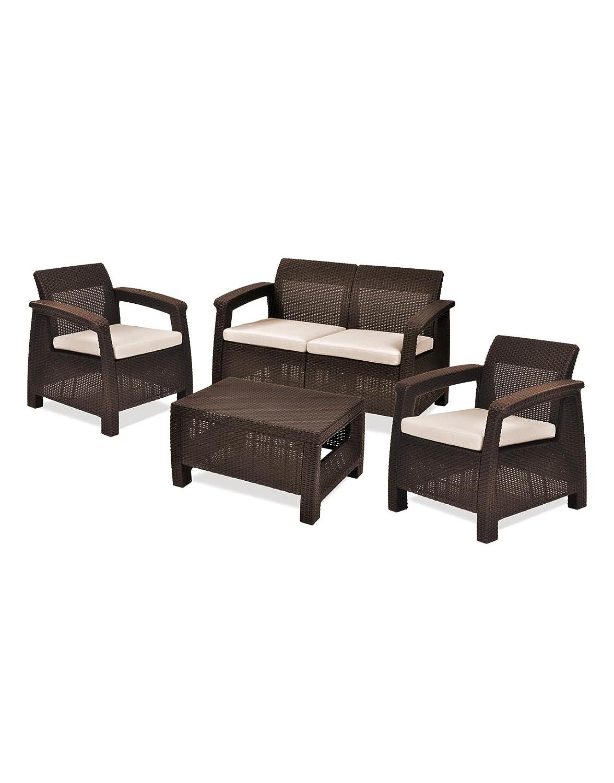Keter Lounge Set Corfu Set, braun + beige Kissen, Rattanoptik, Kunststoff, Gartenmöbel, Sitzgruppe