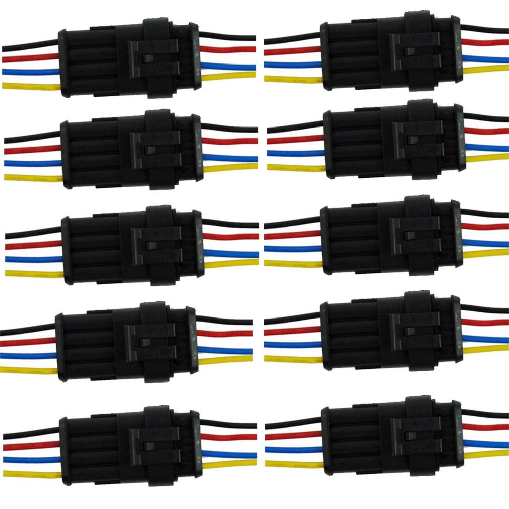 Qiorange 4 Pin Way Car Auto Waterproof Electrical Connector Plug Socket Kit with Wire AWG Gauge Marine Pack of 10 (4 Pin 10 Set )