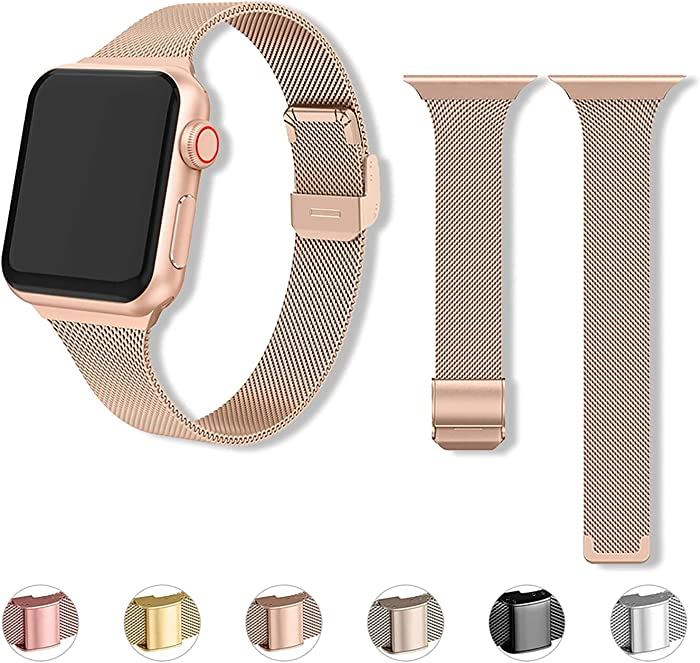 Stainless Steel Mesh Smart Watch Band Compatible with Apple Watch Band for Men Business Replacement Slim iWatch Band for Apple Watch Series 6/5/4/3/2/1/SE (No Tool Needed)