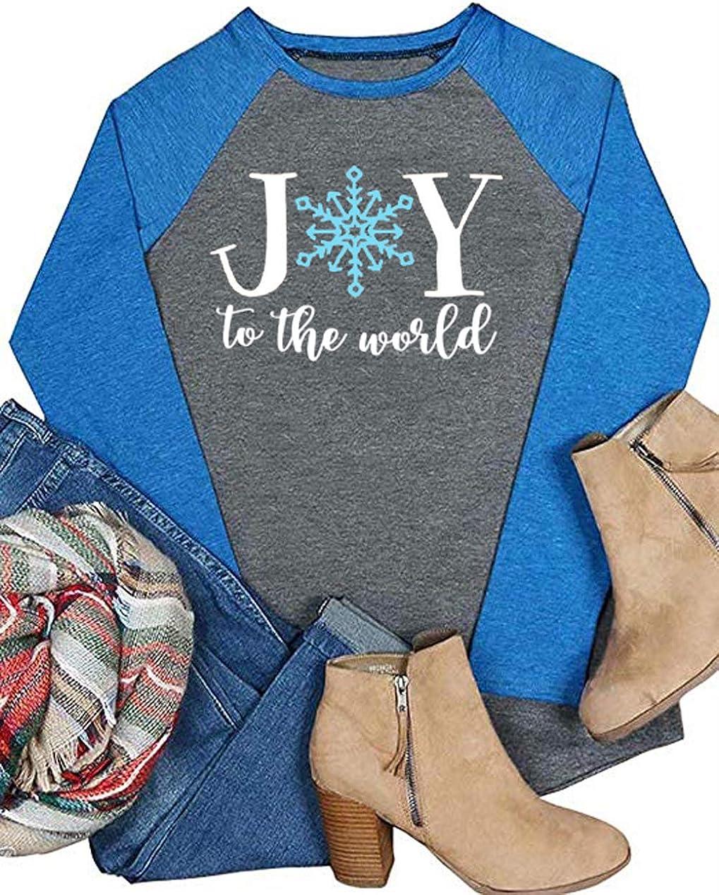Womens Long Sleeve Raglan T Shirt Christmas Snowflakes Baseball T-Shirts Tee Top