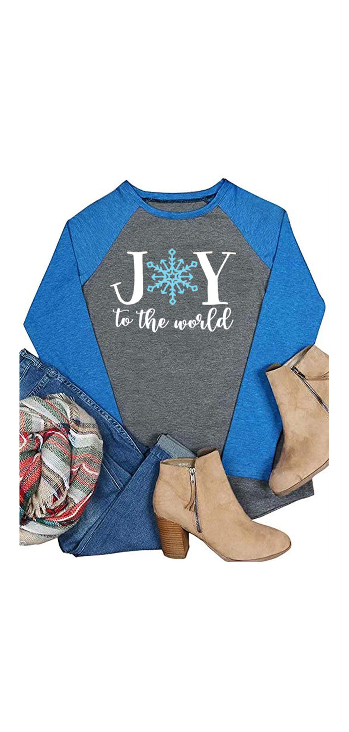 Joy To The World Snowflakes Baseball T-shirt Womens Christmas