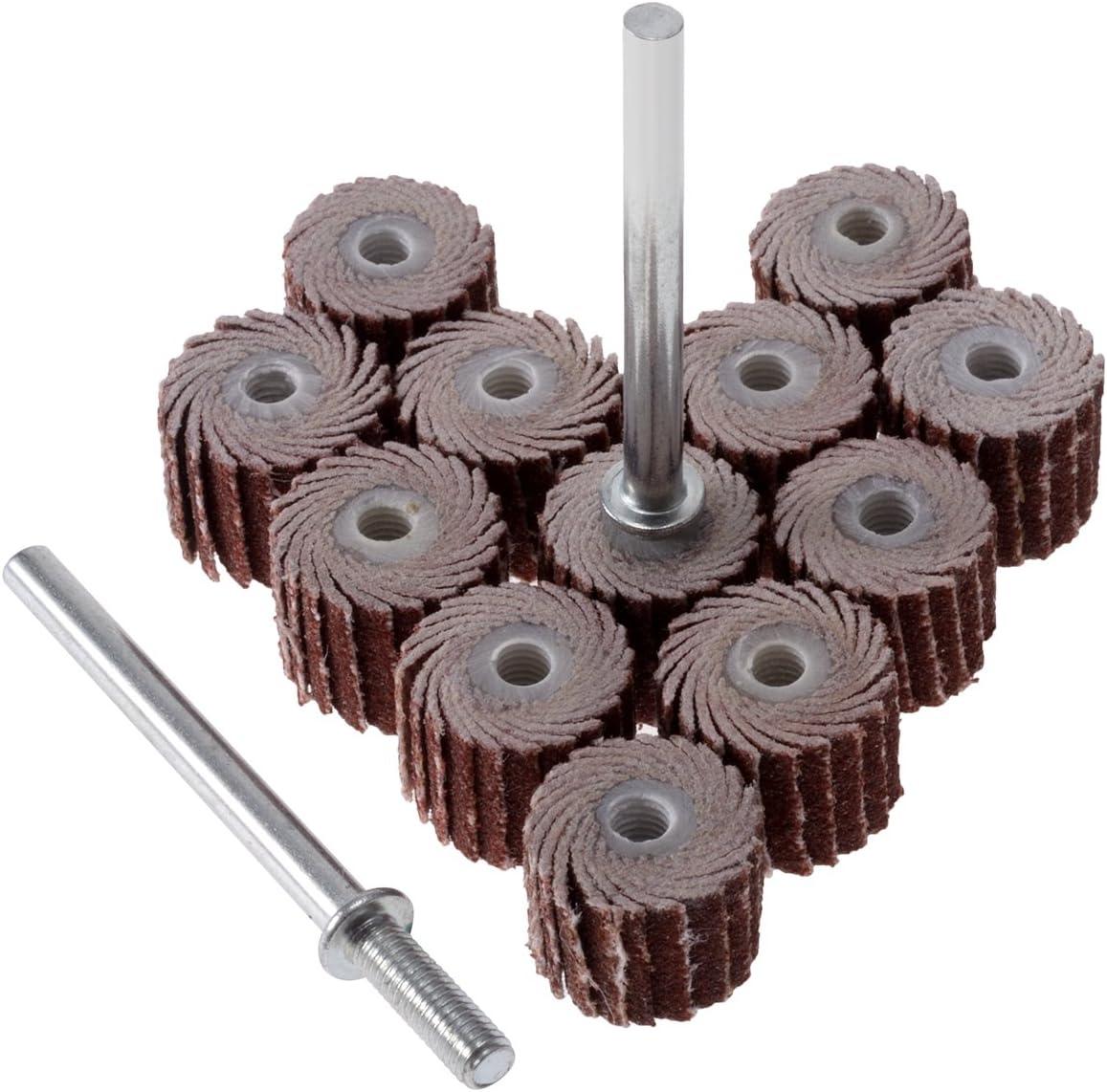 "Flap Wheel 10mm x 10mm 240 Grit Abrasive Grinding Head with 1//8/"" Arbor 10 Pcs"