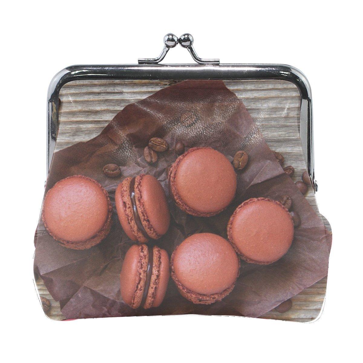 Women Macaroon Coffee Cereals Cookies Print Wallet Exquisite Clasp Coin Purse Girls Clutch Handbag