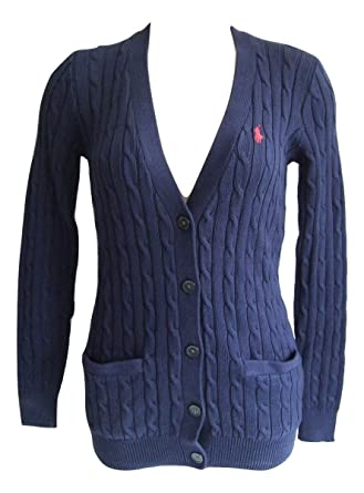 ab291d87f2 Ralph Lauren Polo Women s Cable Knit Button Cardigan Jumpers Knitwear Navy  BNWT