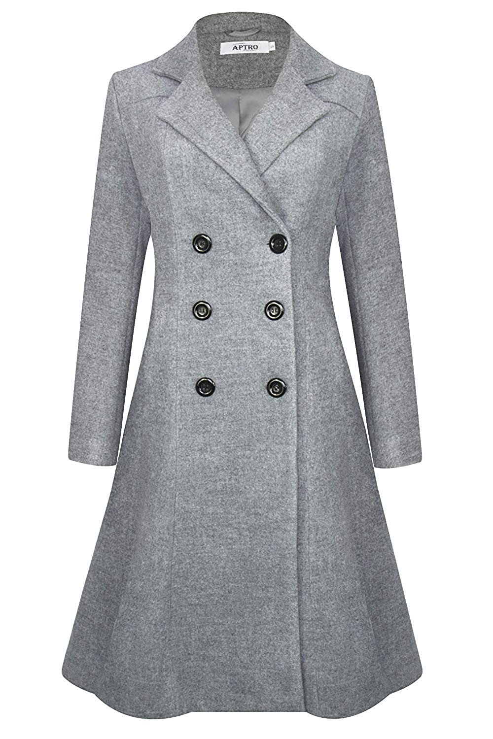 1940s Coats & Jackets Fashion History APTRO Womens Winter Wool Trench Coat Double Breasted Long Pea Coat $86.94 AT vintagedancer.com