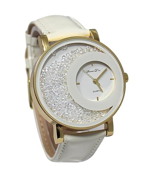 Reloj mujer cristal pedrería dorado Gold pulsera cuero blanco colección Dolce Vita: Amazon.es: Relojes