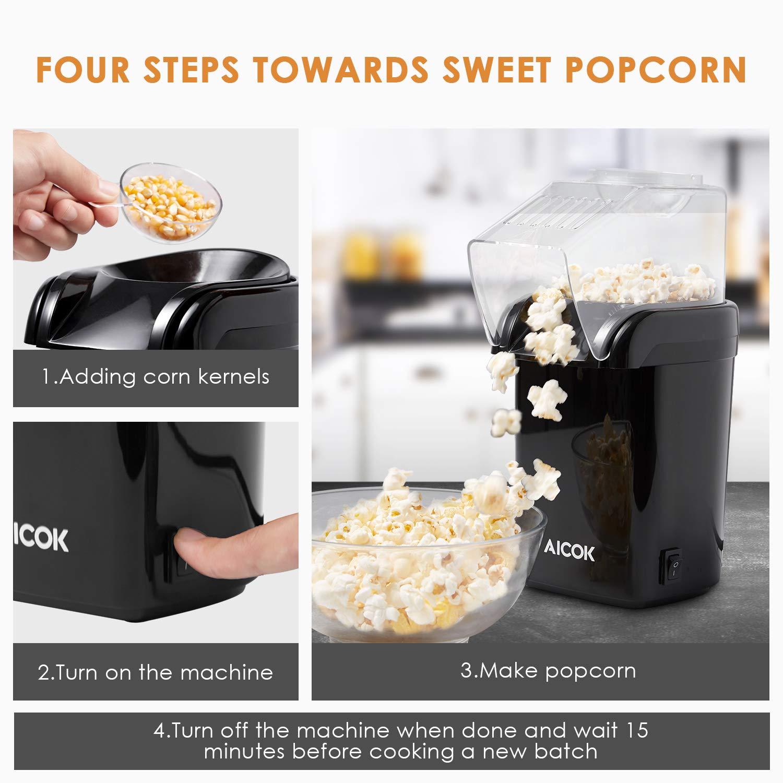 Heissluft Ohne Fett Fettfrei /Ölfrei Schwarz Aicok Popcorn Maker 1200W Messl/öffel Popcornmaschine
