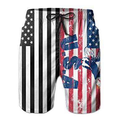 eea76cb5ca Amazon.com: Men's Swim Trunks Eagle Grab American Flag Easeful Board ...