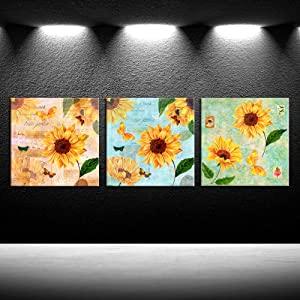 iKNOW FOTO 3 Pieces Vintage Sunflowers Canvas Prints Yellow Flowers Wall Art Botanical Garden Picture Giclee Artwork Stretched and Framed Modern Home Decor Kitchen Dinning Room Bathroom Walls Decor