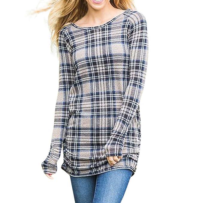 Blusa larga cuadros tartán elegante mujer escote manga larga top fitness mujer T - shirt blusas