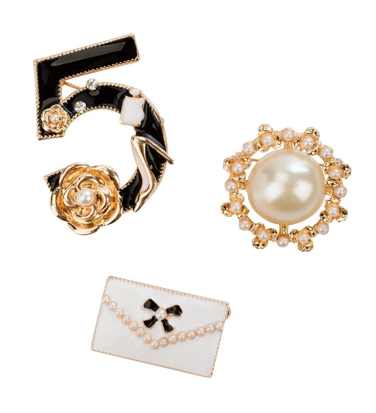 FASHION JEWELRY-COCO PIN SET CC-05 VINTAGE STYLE JACKET-COLLAR BROOCH BUTTON 2017 TREND
