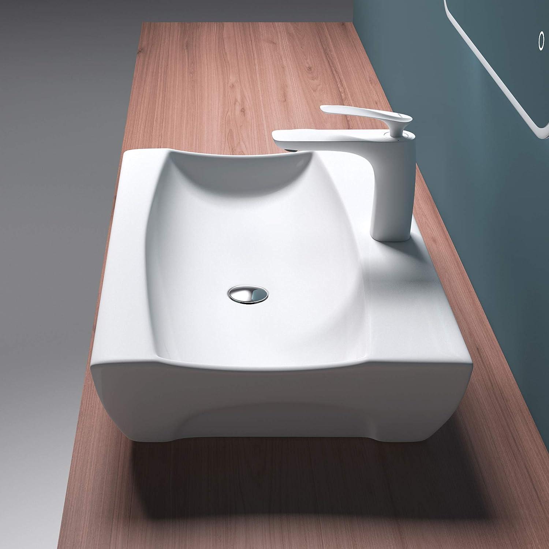 Mai /& Mai Lavabo Suspendu Vasque /à Poser Blanc Lave Mains Salle de Bain avec Per/çage de Robinet sans trop-Plein BR890
