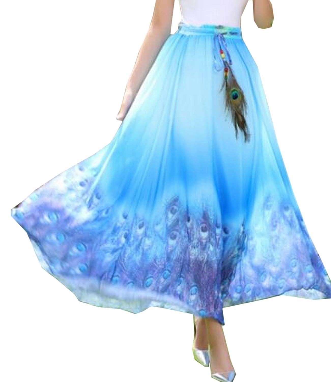 Xinliya Women's Floral Pleated Midi Skirt Beach Long Dress Maxi Skirt Dresses
