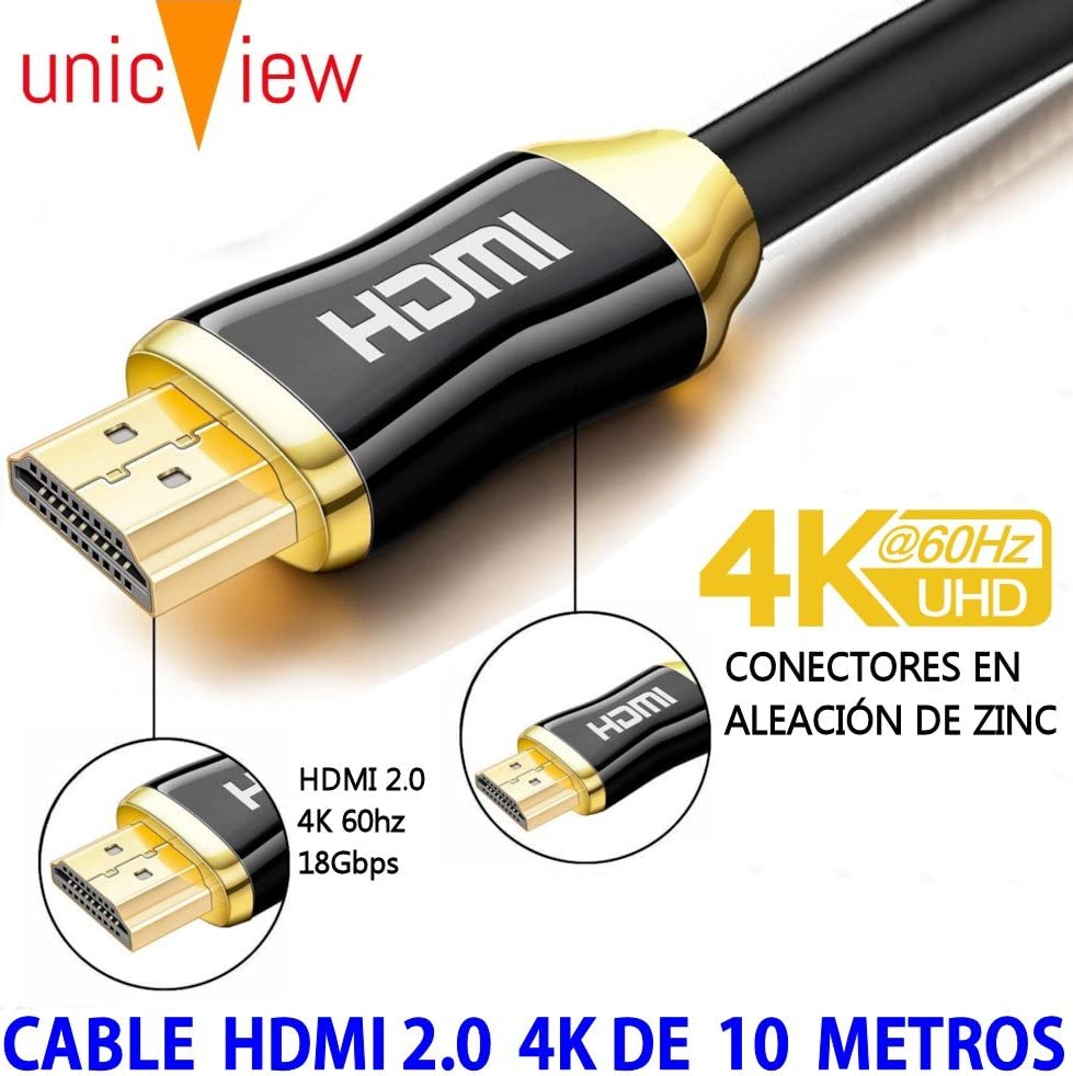 TALLA 10 metros. Cable de HDMI 2.0 de 10 Metros 4K Ultra HD Marca Unicview | Alta Velocidad con Ethernet | Full HD 1080p/4K Ultra HD 2160p/3D/ARC y CEC | Triple blindaje Compatible con TV I Proyector I PS4 I Xbox