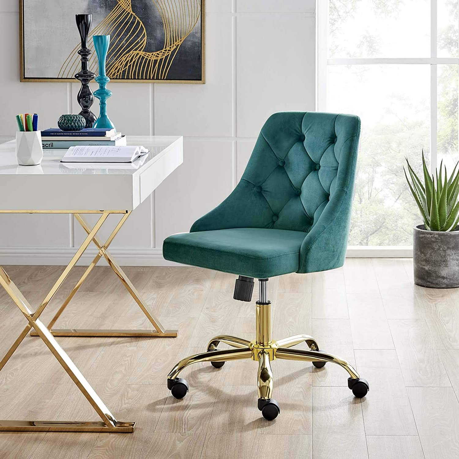 Modway Distinct Tufted Swivel Performance Velvet Office Chair, Gold Teal