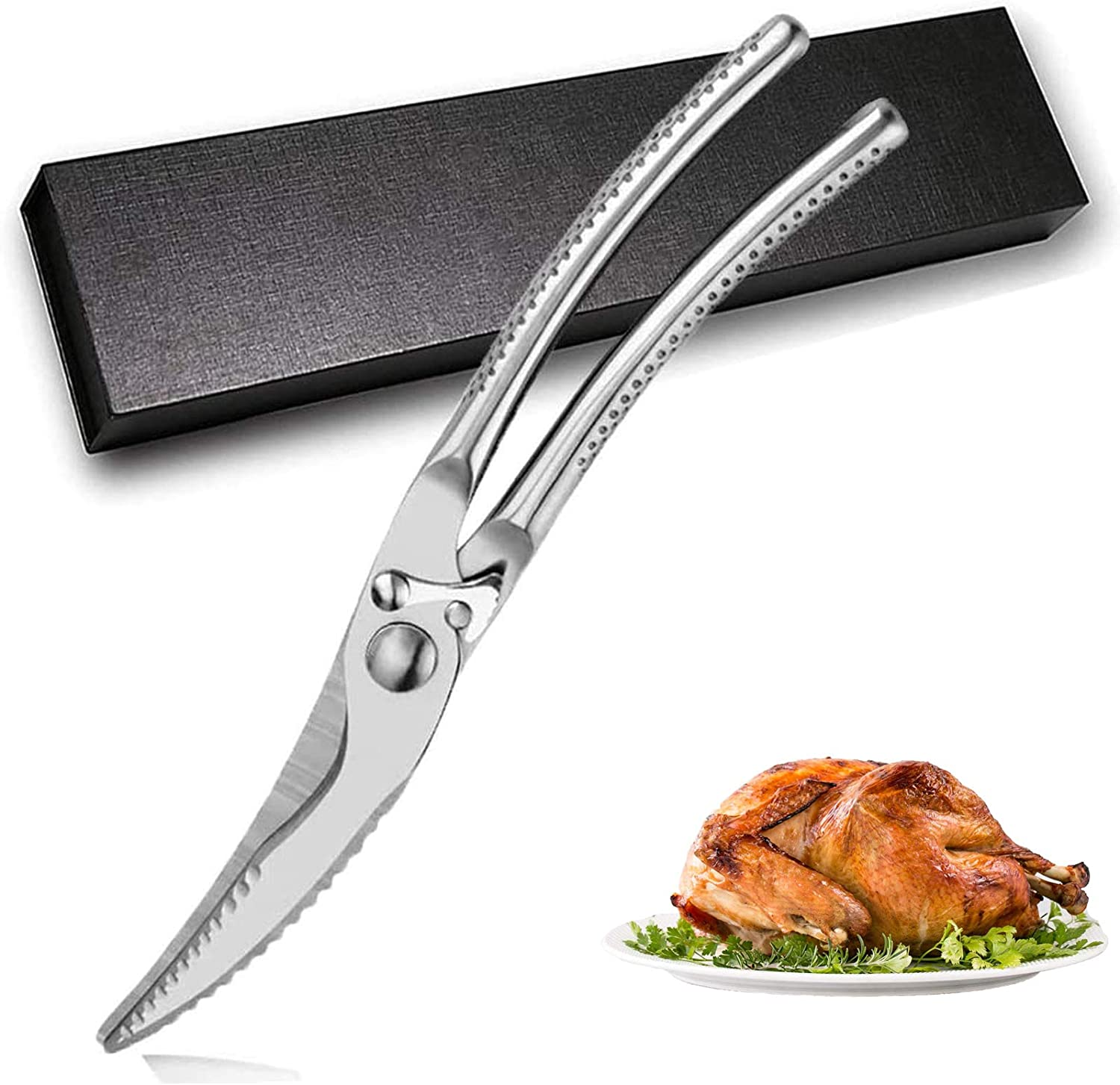 Adovs Kitchen Shears, Stainless Steel Kitchen Scissors Heavy Duty, Multifunctional Poultry Shears Spring-Loaded Food Scissors for Cutting Chicken, Meat, Bone, Fish, Seafood, Vegetables, BBQ