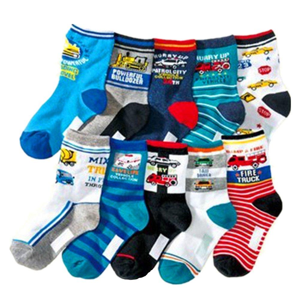 Boys Socks Kids Assorted Designs Fire truck Print Crew Cotton Socks 10 Pairs Cczmfeas