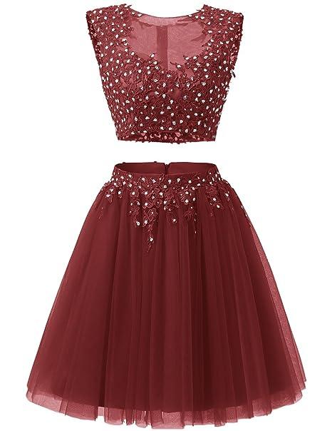Dresstells reg;Vestido De Fiesta Corto Con Aplicaciones Dos Piezas Burdeos 56W