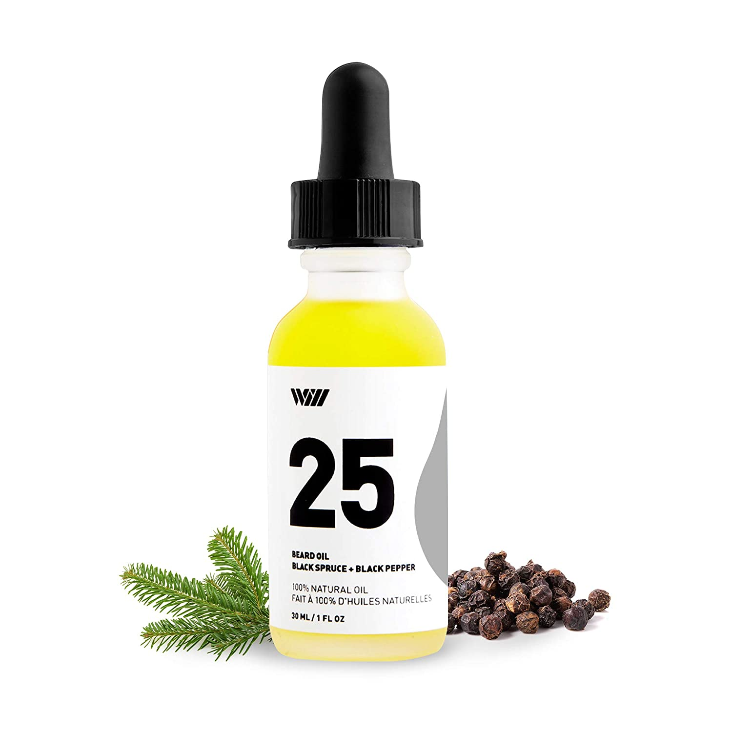 25 Beard Oil Black Spruce and Black Pepper, 100% All-Natural Essential Oil-Based Scented Beard Oil for Men (Bergamot Essential Oil, Organic Jojoba Seed, Grapeseed, and Camellia Oils) – Way of Will