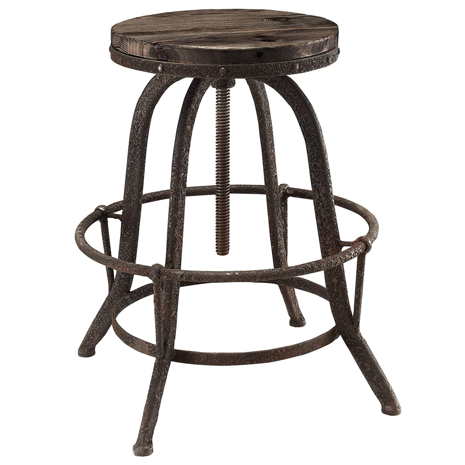 Modway Collect Industrial Modern Rustic Farmhouse Wood Cast Iron Bar Stool in Brown