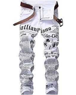 88c17fb74b1f1 HEMIKS Men s Newspaper Letters Printed Jeans Slim Fit Zipper Skinny Denim  Pants Jeans