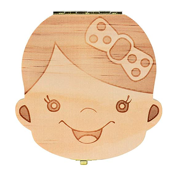 Tefamore Caja del Colección Diente para el bebé Cajas de almacenaje de Madera para los Cabritos Muchacho y Muchacha Organizador de la Dientes de la ...