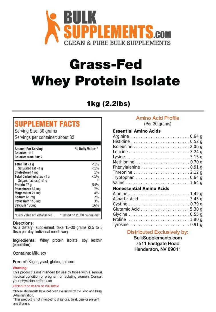 Bulksupplements Grass-Fed Whey Protein Isolate Powder 5 Kilograms