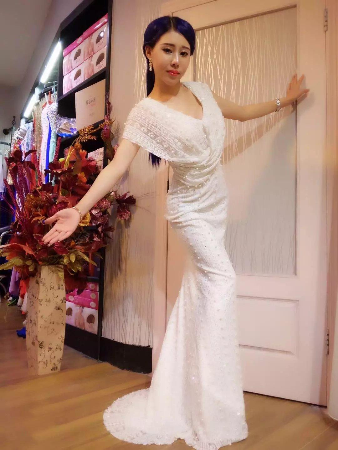 Gypsophila Elegant Cap Sleeve Round Neck Evening Party Dress (0, White) by Gypsophila