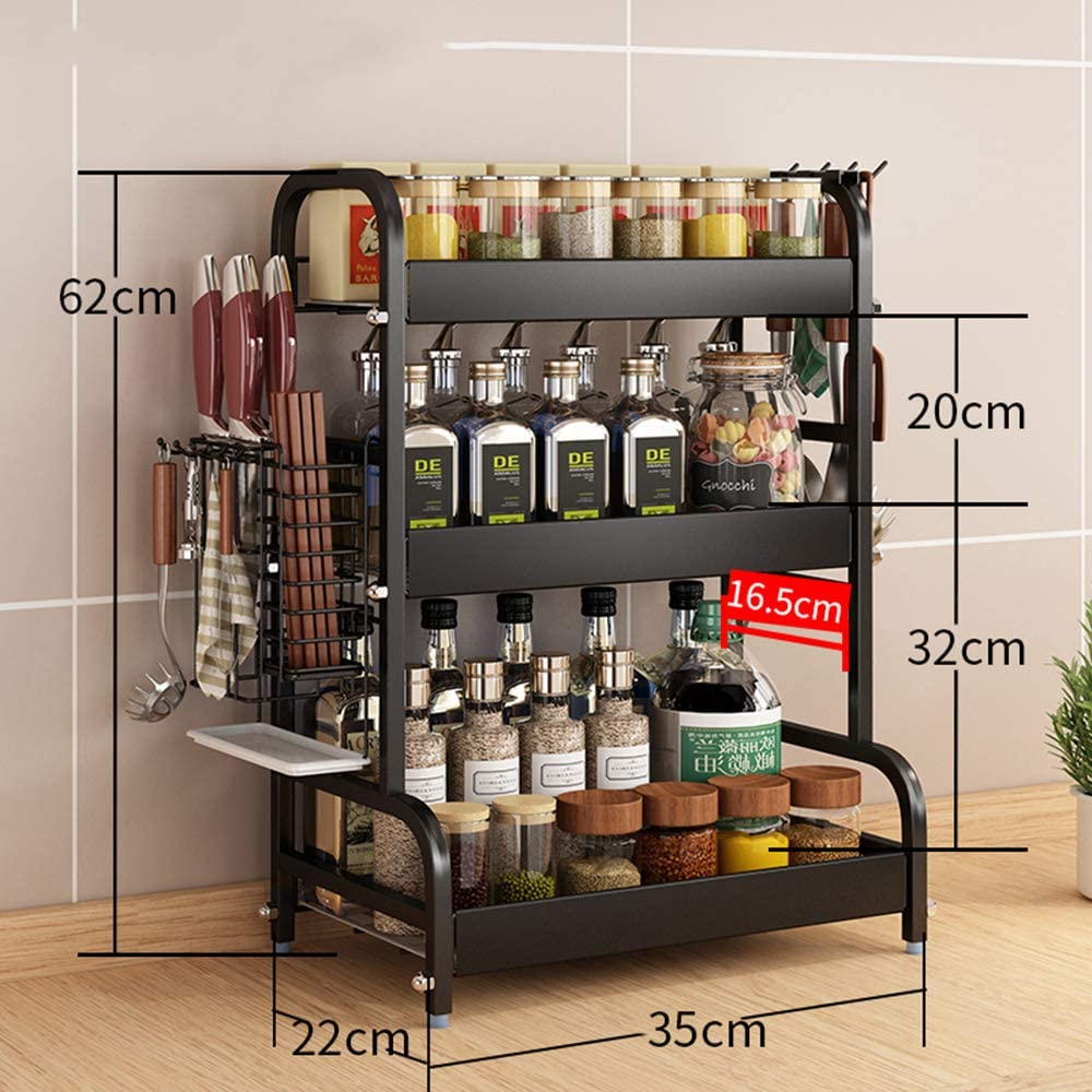 WANGZI Especiero De Cocina Multifuncional 3-Tier Estante Organizador Acero Inoxidable Vertical Estante De Almacenamiento para Encimera De Cocina,35cm