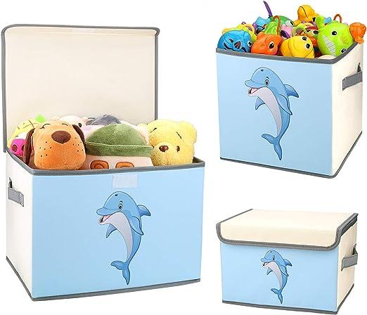 DIMJ Juego de 3 Cajas de Almacenaje Juguetes Plegable, Caja Organizadora de Juguetes con Tapa y Asa, Caja de Tela Patrón Lindo Delfín para Niños (Gris): Amazon.es: Hogar