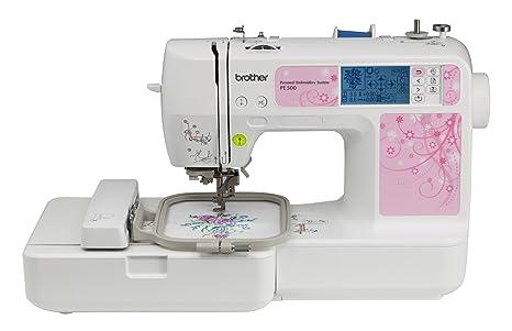 Brother PE500 - Máquina de coser (Máquina de coser automática, Rosa, Blanco,