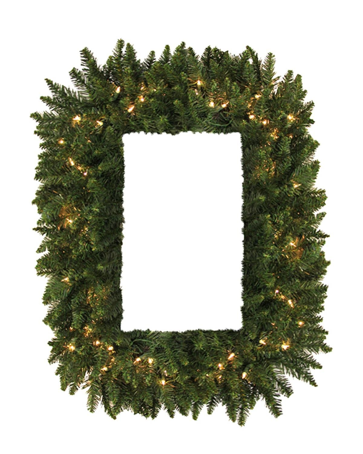 Vickerman Pre-Lit Camdon Fir Rectangular Artificial Christmas Wreath with Clear LED Lights, 36''