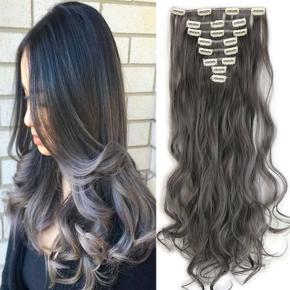 1724 Long Curly Wavy Clip in 8 Pieces Full Head Set Hair Extensions 8pcs Hairpiece Extension Many Colors (24-Curly, Dark Grey)