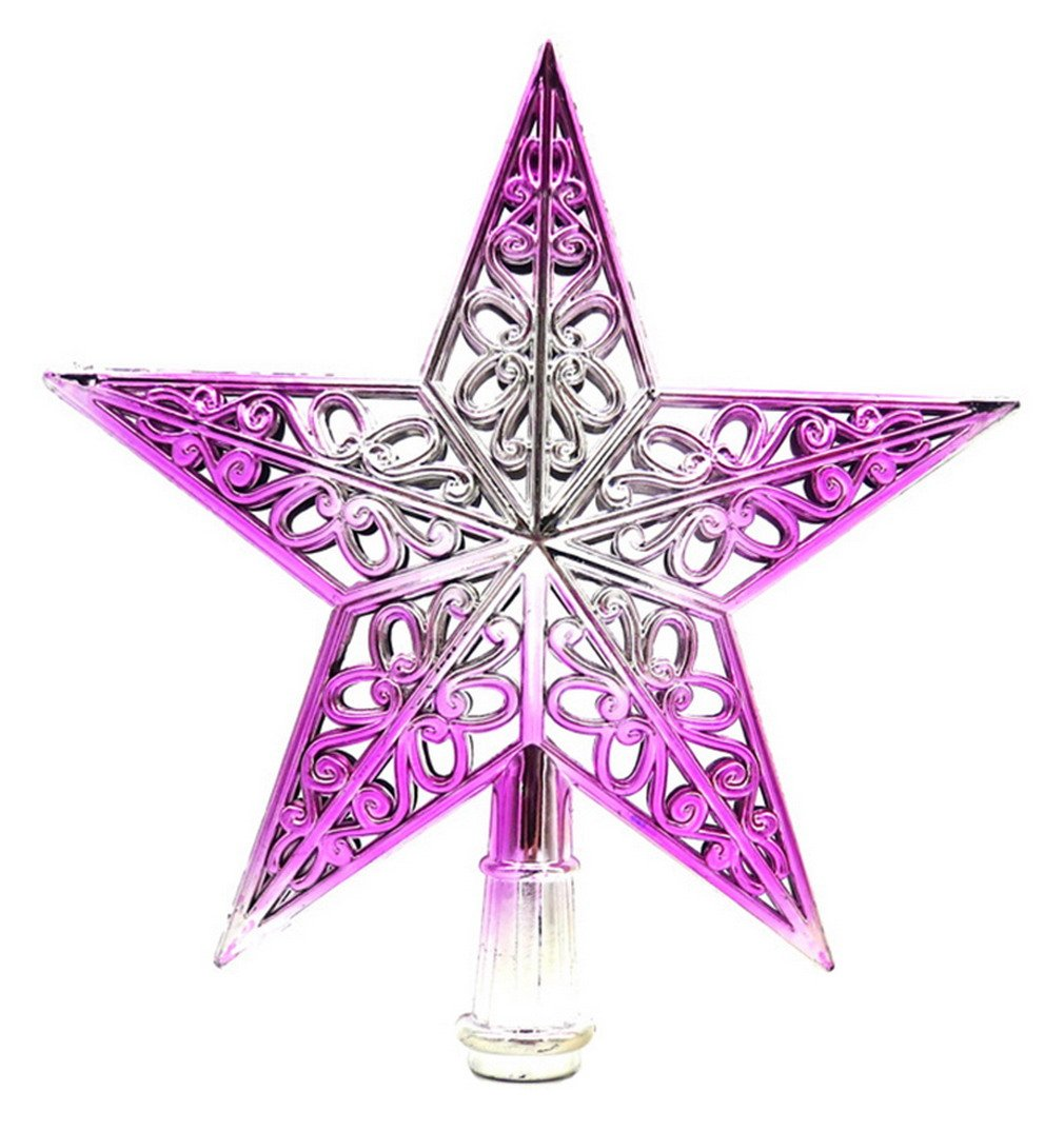 La Vogue Christmas Tree Top Sparkle Stars Glitter Tree Topper Star Home Decor Purple