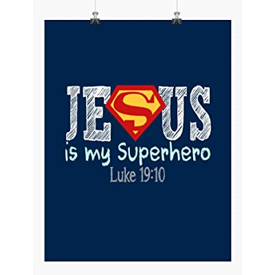 Superman Superhero Christian Nursery Decor Art Print in chalk lettering - Jesus is My Superhero - Luke 19:10: Handmade