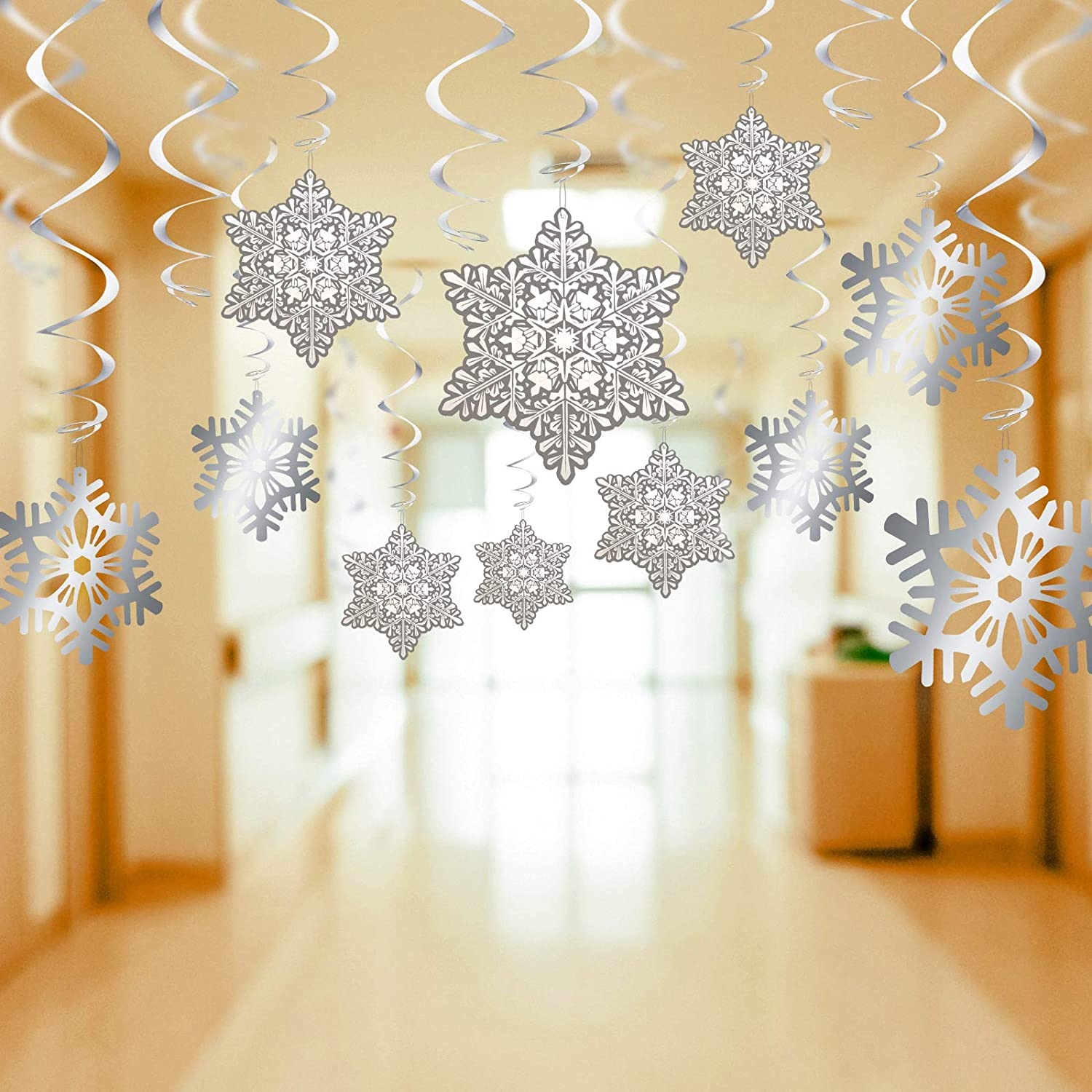 Boao 60 Pieces Christmas Snowflake Hanging Swirl Decorations Spiral Streamers for Christmas Party Supplies, Foil Ceiling Ornaments for Xmas Winter Holiday Party Decor